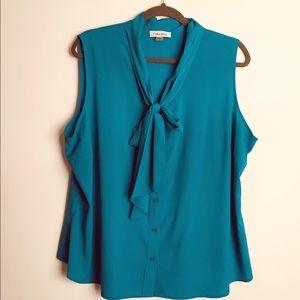 Calvin Klein sleeveless blouse green blue 1X